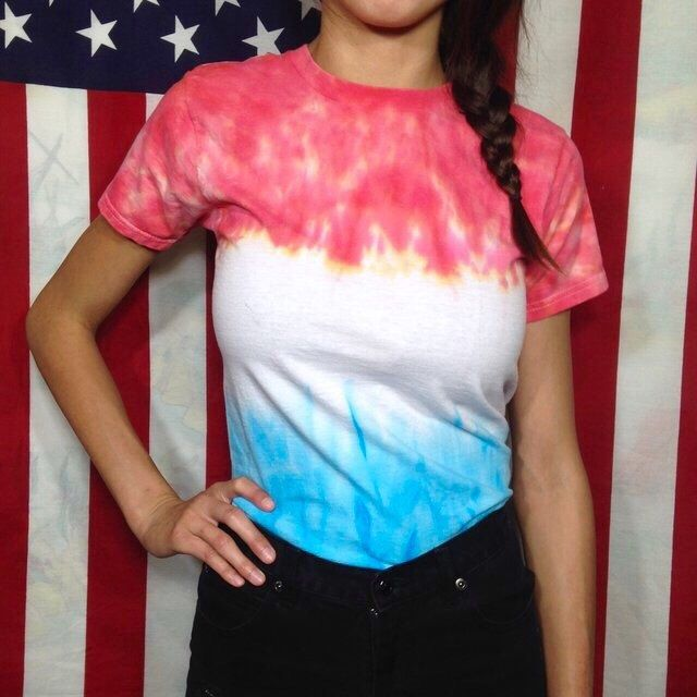 Red White & Blue Tie Dye 4th Of July T-Shirt America Independence Day USA Popsicle Style Colorful American Flag Women's Size Small Top by BlueVersion on Etsy https://www.etsy.com/listing/494835846/red-white-blue-tie-dye-4th-of-july-t