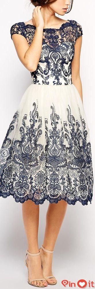 FASHİON TV 2015: Chi Chi London Premium Embroidered Lace Prom Dress with Bardot Neck