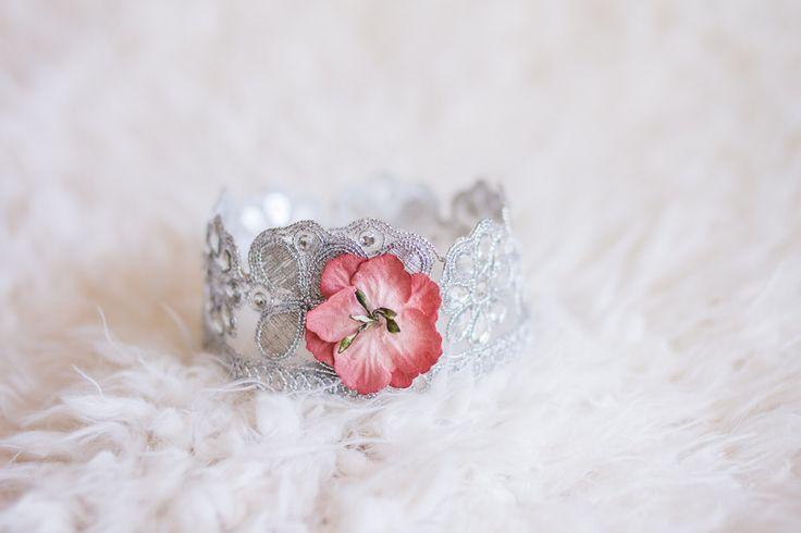 Newborn crown with flower accent