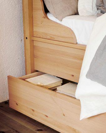 hurdal bettkasten in hellbraun unter einem bettgestell aus massiver kiefer schlafzimmer. Black Bedroom Furniture Sets. Home Design Ideas