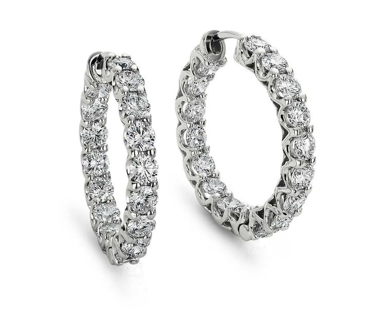 Blue Nile Prong-Set Hoop Diamond Earrings in 18k White Gold #fashion