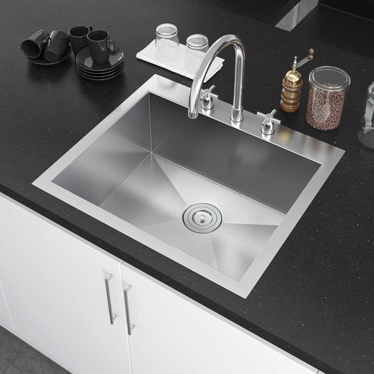 Exclusive Heritage 25u2033 X 22u2033 Single Bowl Topmount Stainless Steel Kitchen  Sink With Strainer
