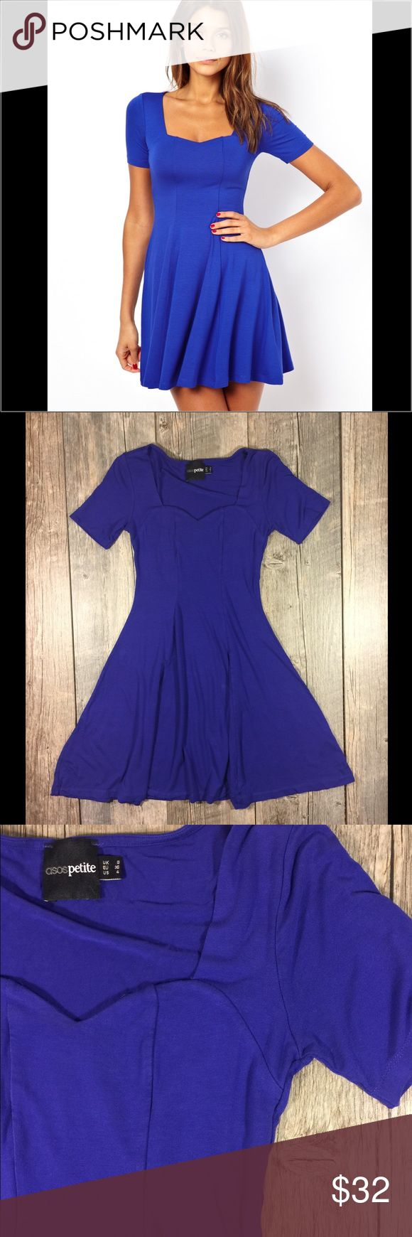 Asos petite blue purple sweetheart skater dress Asos petite blue purple sweetheart skater dress. Purplish blue color. Sweetheart neckline. 33 inches long. Waist is approx 22 inches. Bust is approx 27 inches before stretch. Viscose 5% elastane. Tag reads size 4 ASOS Petite Dresses