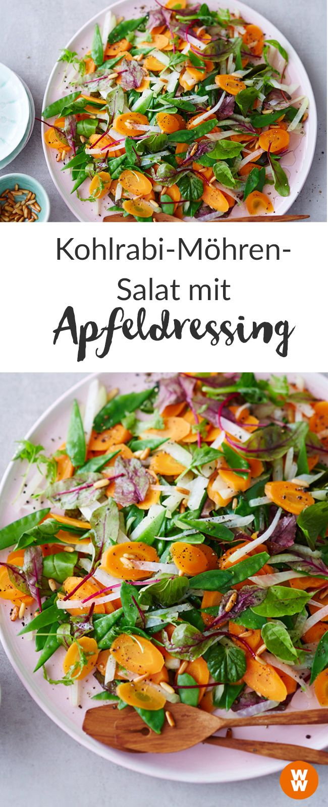 Lust auf einen bunten, gesunden Salat mit Kohlrabi, Möhren,Zuckererbsen und einem leckeren Dressing? I Rezept I WW Your Way I Weight Watchers Rezept I WW Rezept I Weight Watchers Deutschland