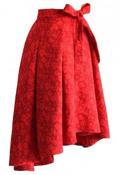 Scarlet Jacquard Floral Waterfall Skirt - Retro, Indie and Unique Fashion