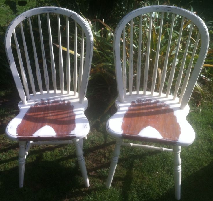 A pair of spindle back 'Laura Ashley' chairs - with Sussex Upcycling