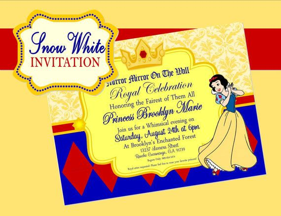 15 best Katelyns 5th Birthday Party Ideas images – Snow White Party Invitations
