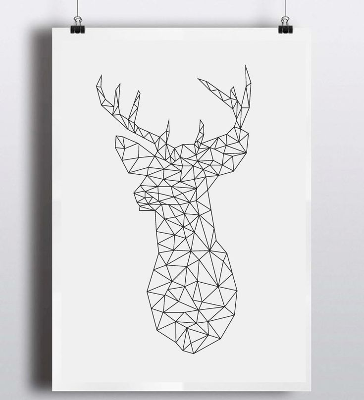 Find More Painting Calligraphy Information About Geometric Deer Head Canvas Art Print Poster
