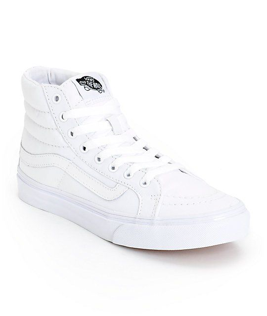 Take it back old school with the Vans Sk8 Hi Slim True White canvas skate shoe. Designed with skating in mind, these Vans high tops are built with a padded collar and vulcanized outsole with a slimmer profile for the ladies, while the True White colorway