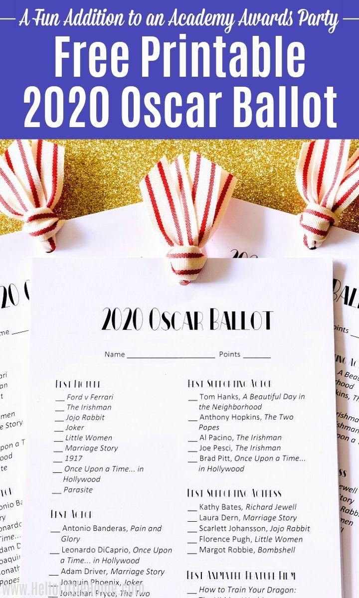 2020 Oscar Ballot Free Printable Oscar Ballot Oscars Party Ideas Academy Awards Party