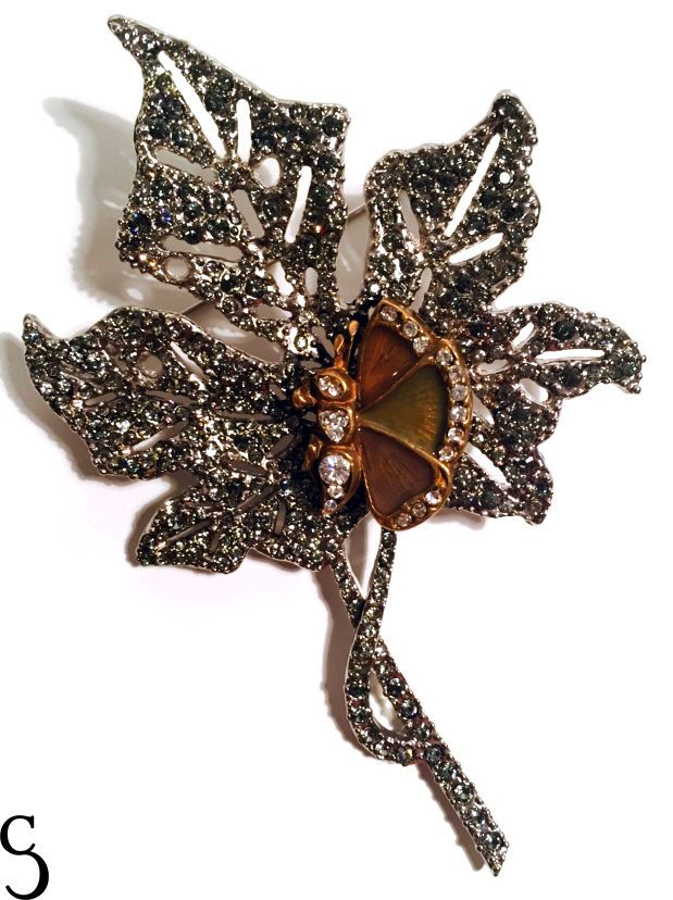 Valentino Garavani Vintage Authentic Feather Diamoned Brooch in Pins, Brooches | eBay