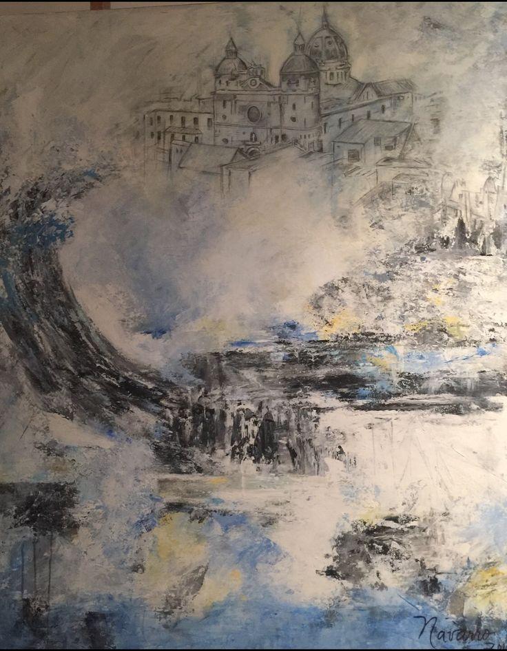 Noche de Cartagena  Acrilico y lápiz sobre lienzo Carmen Alicia Navarro