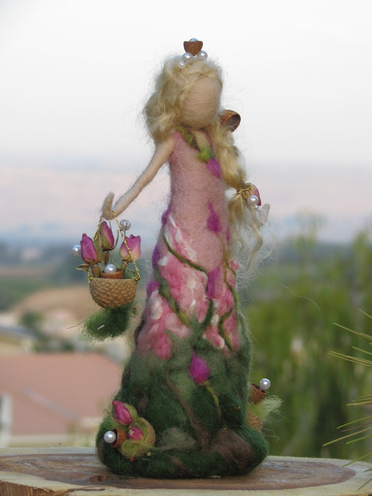 Needle felted rose's doll