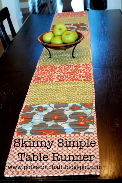 Tuesday Tutorial: Skinny Simple Table Runner - The Polkadot Chair...This runner is VERY easy! Even though it took me a while to finish it, you could definitely do it in an afternoon or two. To begin… Your blocks will be 14″ tall by 11″ wide.  I wanted my runner to be about 105-110″ long, so I have 10 blocks.