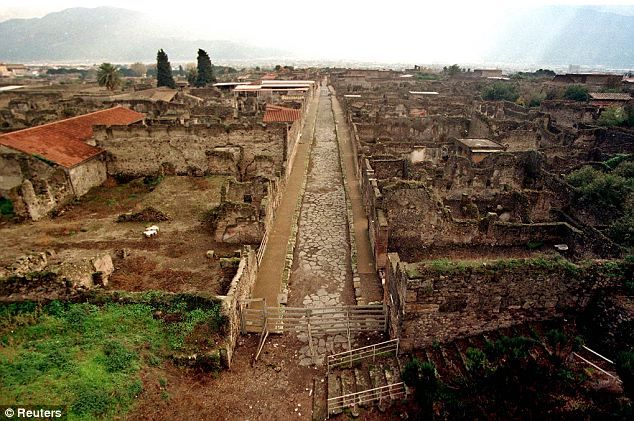 The archaeologial site of Pompeii, the ancient Roman town close to Naples that was discovered in 1749 after being buried in volcanic ash for 1700 years
