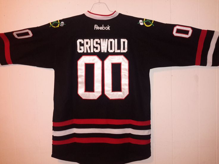 Vintage #00 Black Chicago Blackhawks CCM Griswold Sewn NHL 80s movie National Lampoons Christmas Vacation