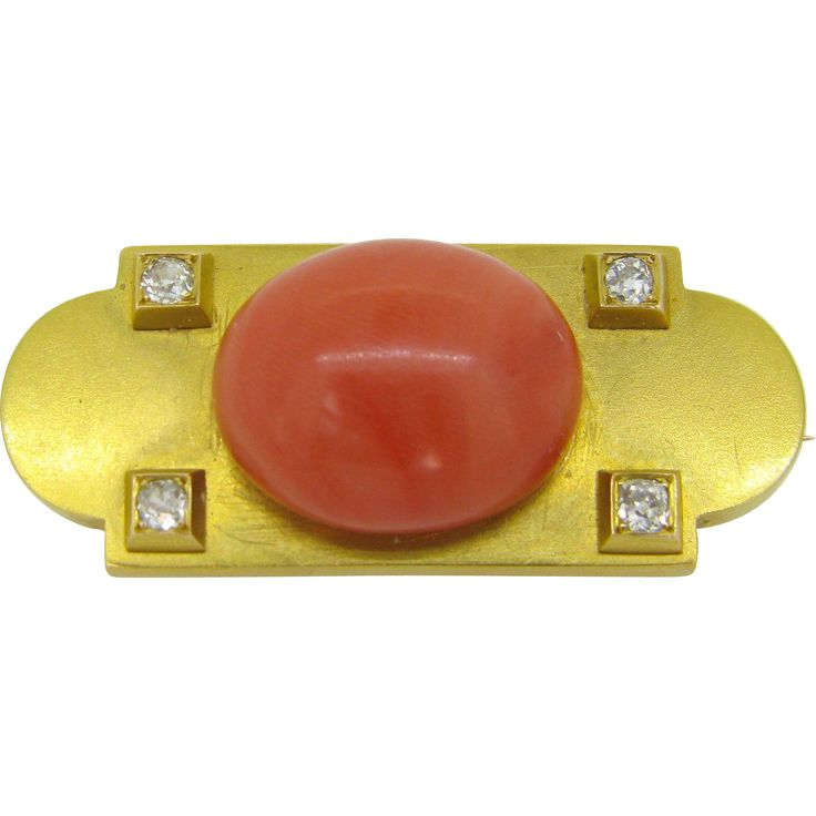 Victorian French Coral diamond brooch, 18kt gold from Heritagem on RubyLane.com