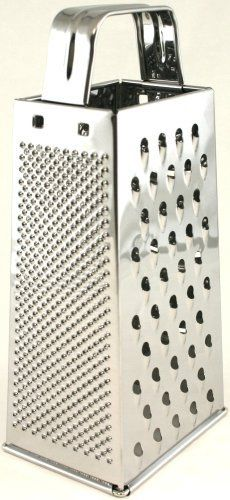 Paderno World Cuisine 4-Way Grater, Stainless Steel by Paderno World Cuisine. $18.75. With fine, medium, and couse perforations as well as slicer. Dishwasher safe. Durable stainless steel construction. With convienent handle. A multipurpose tool capable of producing a variety of textures. The Paderno World Cuisine 4-Way Grater is constructed of stainless steel.  It is multipurpose tool capable of producing a variety of textures.