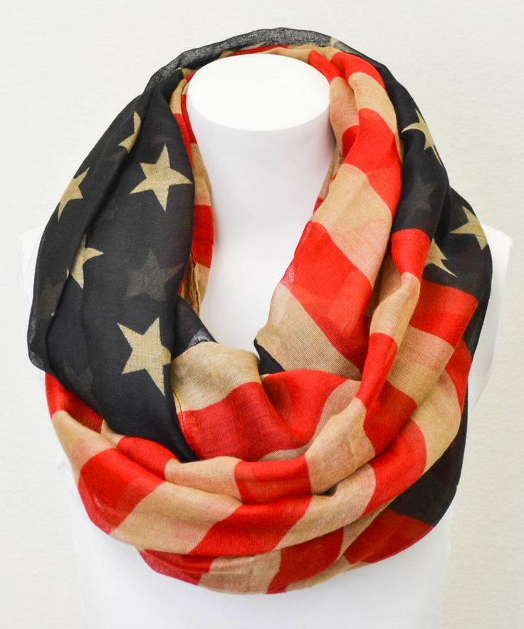 Red  Blue American Flag Infinity Scarf