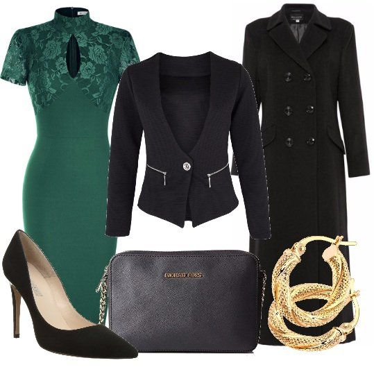 Il+verde+è+uno+dei+colori+più+di+moda+questa+stagione,+in+particolare+il+tono+pantone+lush+meadow,+che+vi+propongo+nel+bellissimo+abito,+sopra+indossiamo+un+blazer+nero.+Come+capospalla+ho+scelto+questo+modello+doppiopetto+di+gran+classe.+Gli+accessori+completano+il+tutto+in+modo+impeccabile:+décolleté,+pochette+e+orecchini+in+oro+giallo.