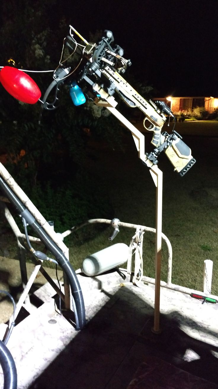 Custom Aluminum Crossbow Stand for boat. Crossbow is outfitted with AMS Big Game Reel for alligator hunting.