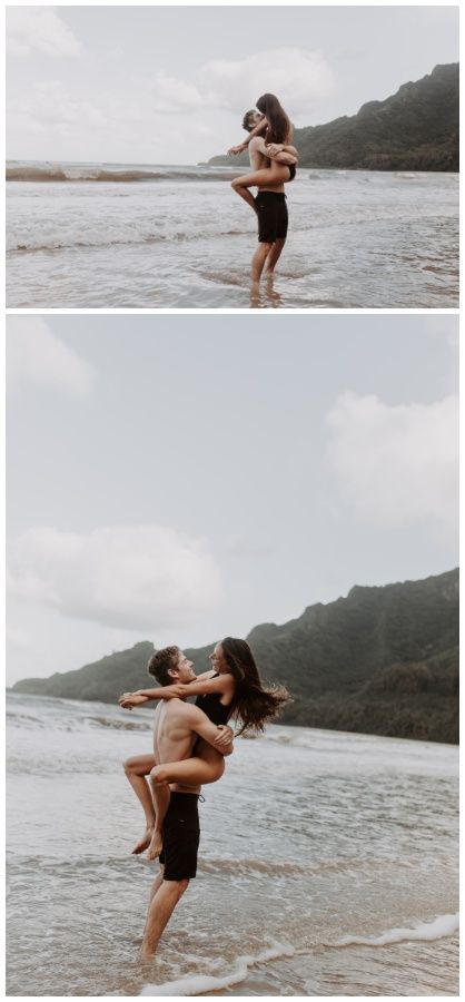 Summer engagement session, beach couple, engagement outfit idea – Couple's Poses