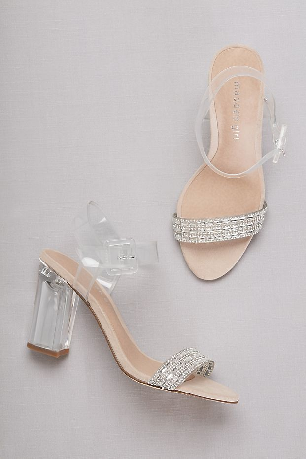 faa2212d135 Lucite Ankle-Strap Heels with Crystal Detail