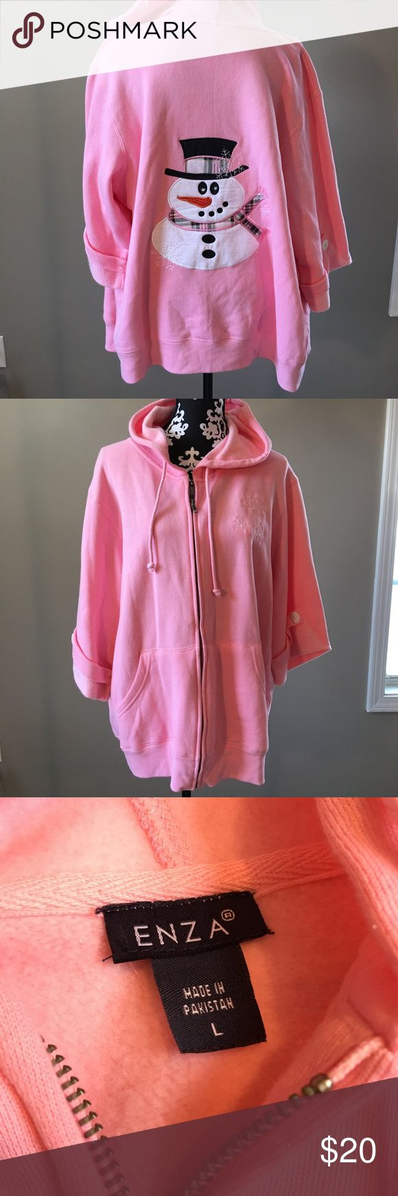Enza woman's Christmas pink snowman hoodie L Enza Preowned woman's pink zip up hoodie 3 quarter sleeve snowman on back snowflake on the front size large see all measurements in photos cute hoodie Enza Tops Sweatshirts & Hoodies
