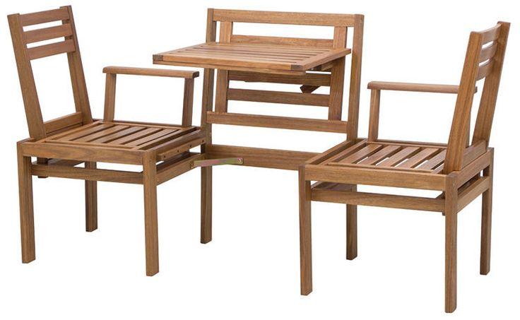 Modułowa ławka wykonana z drewna akacjowego. Funkcjonalne rozwiązanie mebla na balkon lub taras. Do zastosowania jako ławka trzyosobowa lub krzesła ze stolikiem.  http://meblefann.pl/product-pol-117-Lawka-MODULAR.html