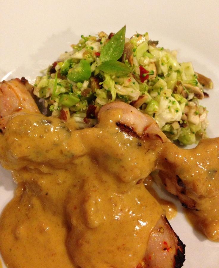 Satay chicken, cabbage broccoli slaw