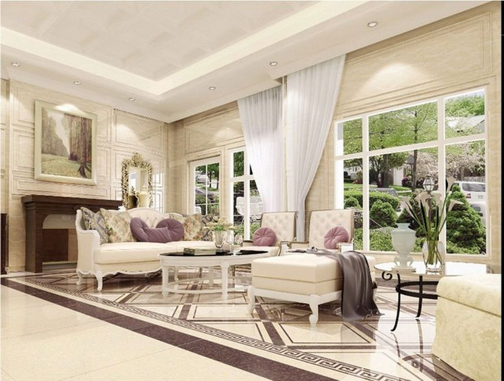 Living Room Floor Tile Design Ideas With Large Windows And White Sofa