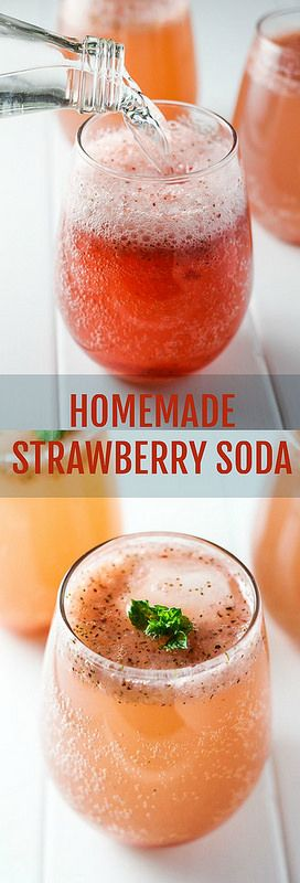 This Homemade Strawberry Soda is refined sugar free and super refreshing. Mint and basil make this healthy drink even more flavorful.