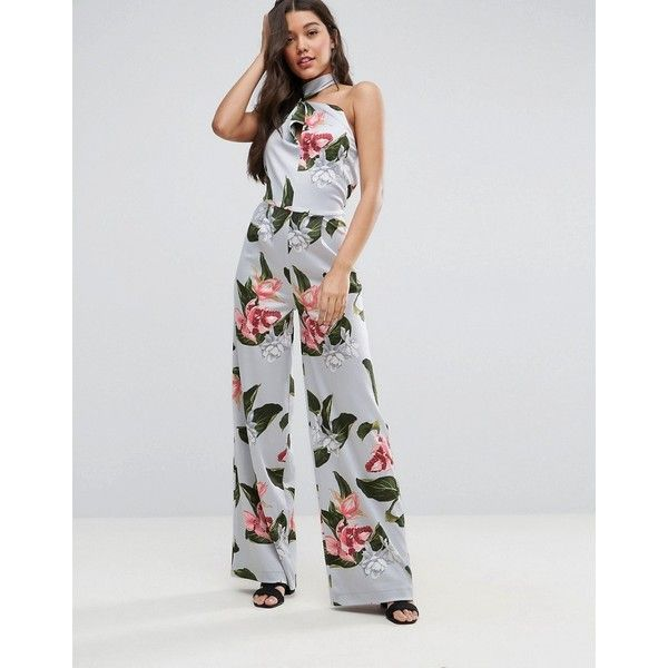 Mango Oversized Floral Print High Neck Jumpsuit (173.280 COP) ❤ liked on Polyvore featuring jumpsuits, blue, flower print jumpsuit, floral wide leg jumpsuit, jump suit, blue jump suit and stretch jumpsuit