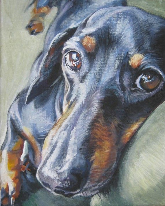 Dachshund art print canvas print of  LA Shepard by TheDogLover, $19.99