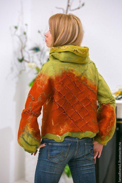 """Купить Двухсторонняя валяная куртка """"Уютная осень"""" - куртка валяная, валяная куртка, женская одежда"""