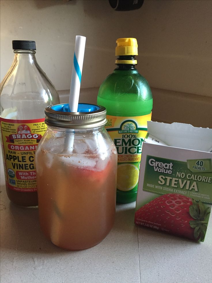 In a quart jar add 2 TB apple cider vinegar, 3 TB lemon juice, 2 strawberries, 1/2 tsp cinnamon, 1 packet stevia , ice and water.