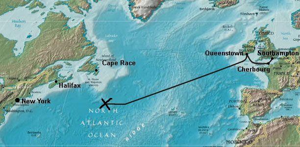 Route Titanic 1912