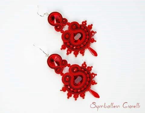 #soutache #earrings #swarovski #red