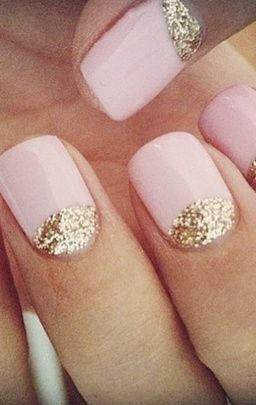 Pink and Gold Nails - i've been doing my nails like this and love it ;)