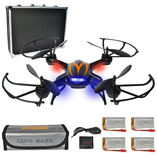 PYS F181 RC Quadcopter with 720p HD Camera Wifi FPV Drone with Altitude Hold Function RTF Helicopter with Portable Aluminum Case 4 Batteries 4in1 Charger Explosion-proof Battery Safe Bag (Black)