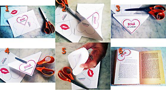 Valentinea ystäville Kirjanmerkki valmiiksi printistä.