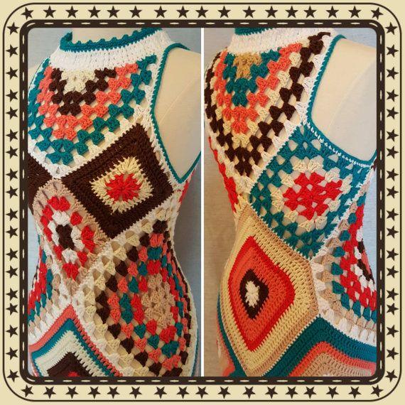 Custom Made To Order Womens Crochet Granny Square by OrawanCrochet