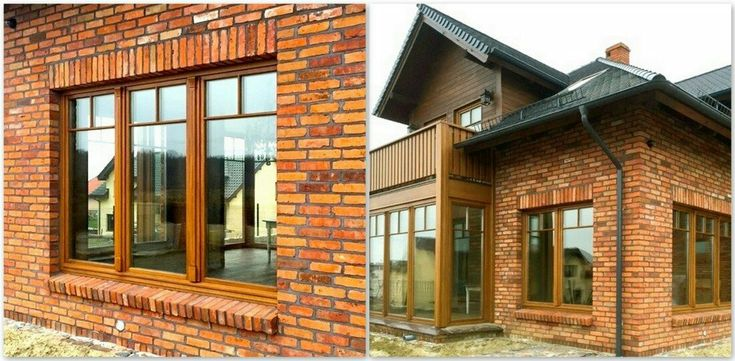 Large-surface wooden windows - oak windows. Thanks to such window surfaces, the interior of the house is very well lit, and the use of three panes makes the house warm at the same time.