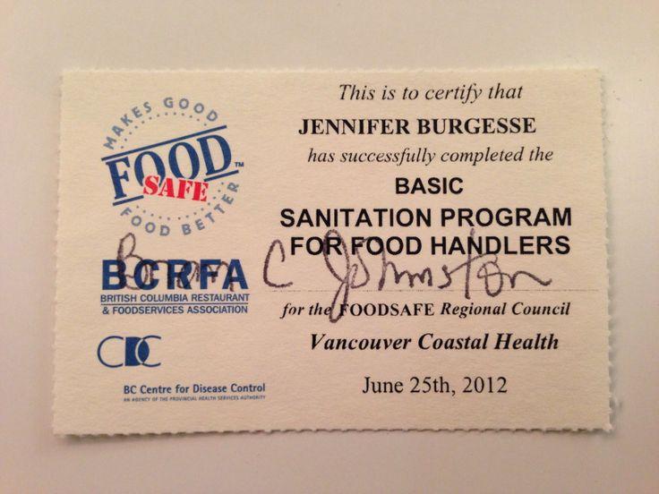 Foodsafe certification