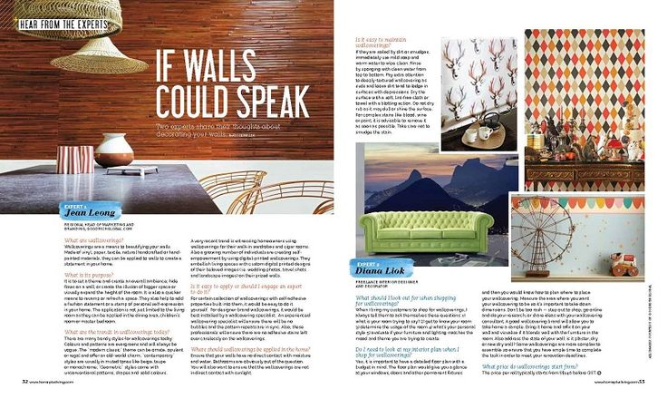 Jean Leong, Regional Head of Marketing and Branding of Goodrich Global shares her insights in wallcovering trends, application and maintenance. Read more at: http://www.houzz.com/photos/43494338/If-Walls-Could-Speak-Home-Living-Issue-24-home-decor-other-metro