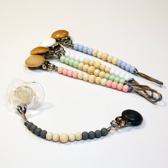 Dummy Chain Wood + Silicone Bead - Eco Pacifier Clip - Wooden Teething Beads - Your Choice of Custom Colours