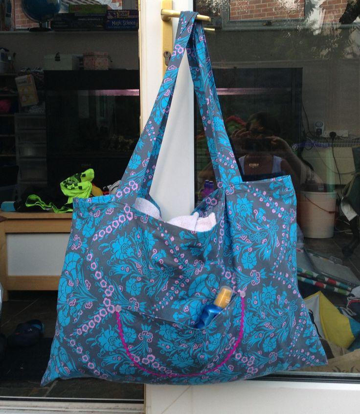 Homemade oversize beach bag
