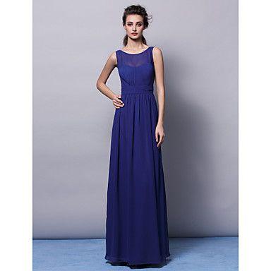 Sheath/Column Jewel Floor-length Chiffon Bridesmaid Dress (2463419) – EUR € 84.99