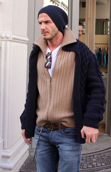 Becks in great rugged sweaters, not sure about the sweater on sweater thing, but nice sweaters Layering Sweaters men - http://amzn.to/2hM9HTm