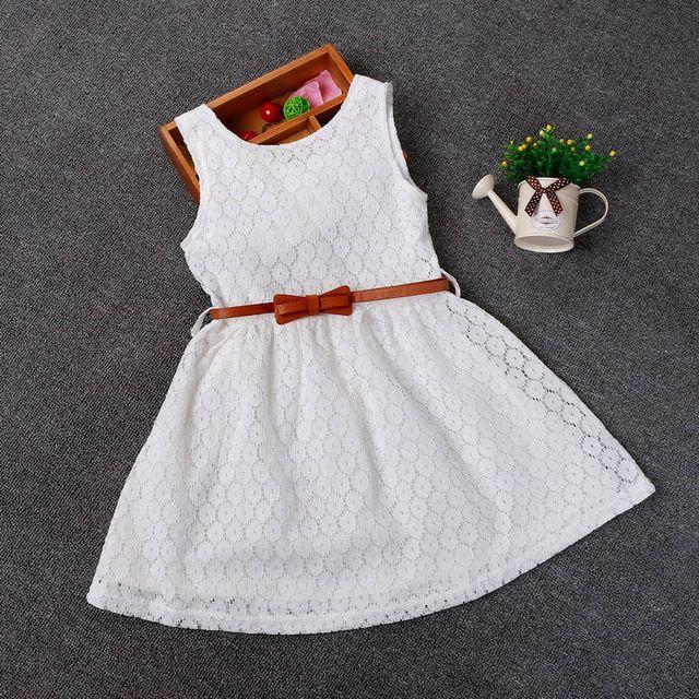 2-8 Ano Novo Presente Colete de Renda Verão Meninas Do Bebê Vestido Da Menina Vestido de algodão Roupas Chlidren Roupas Partido Dos Miúdos Para Meninas Cinto Livre